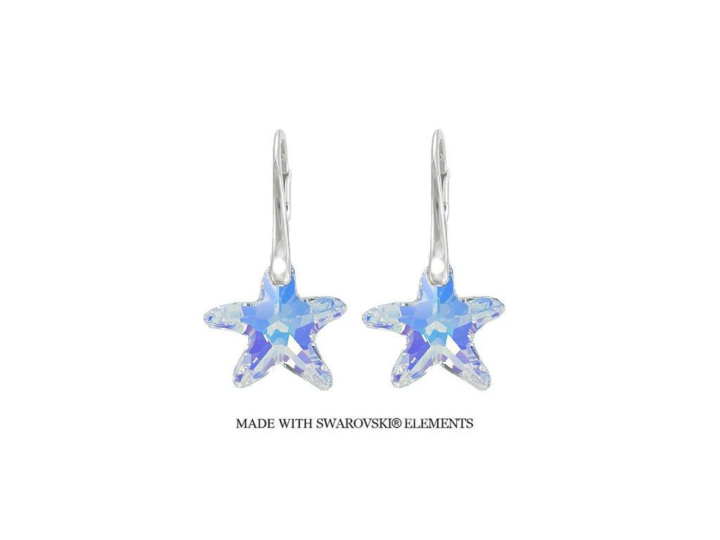 Náušnice morské hviezdy Swarovski Elements AB 16 mm