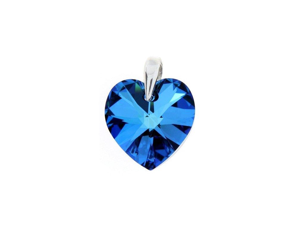 Prívesok srdce s modrým kryštálom Swarovski Heart Bermuda Blue 18 mm