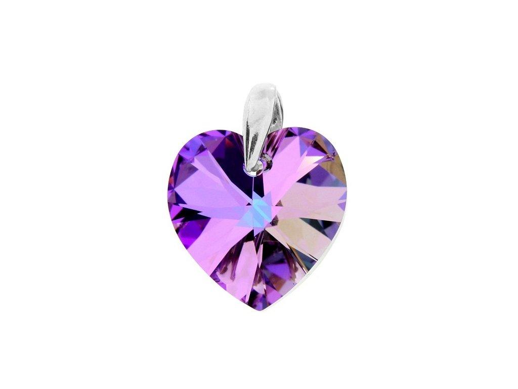 Prívesok srdce s fialovým kryštálom Swarovski Heart VL 18 mm