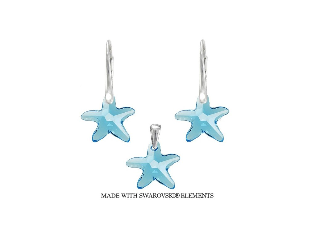 Swarovski Elements set morské hviezdy Aquamarine 20 mm