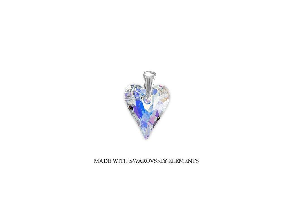 Prívesok Swarovski Elements divoké srdce AB 17 mm