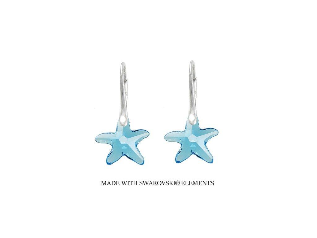 Náušnice morské hviezdy Swarovski Elements Aquamarine 16 mm