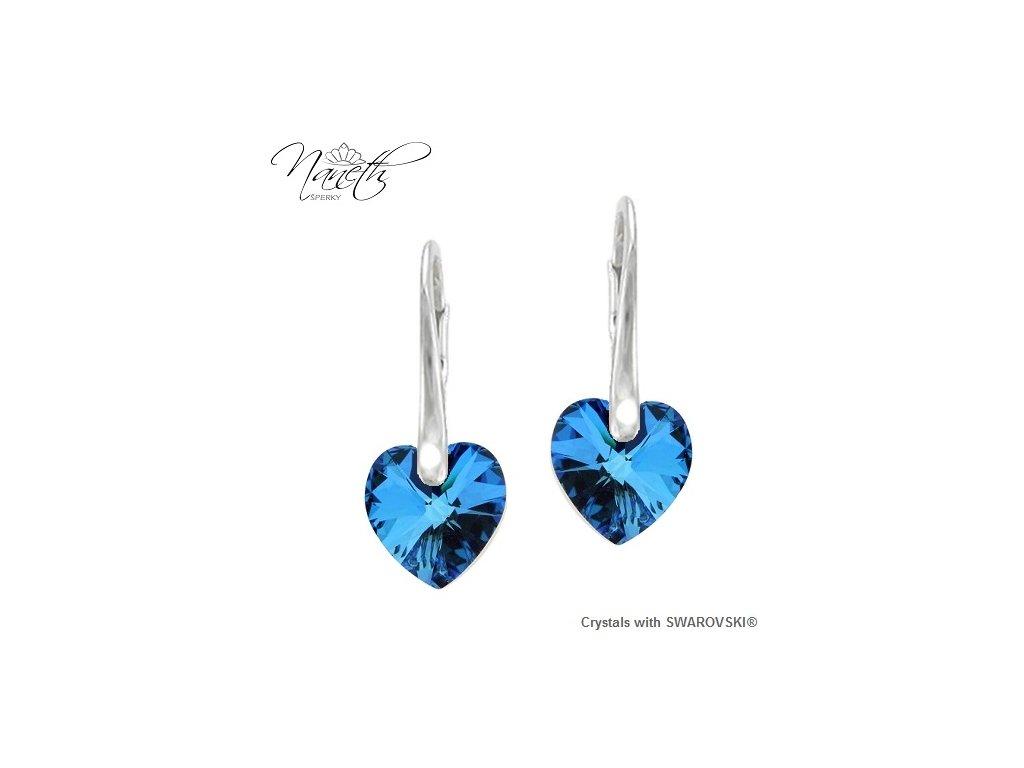 Srdiečkové modré náušnice Naneth s kryštálmi Swarovski Bermuda Blue 14 mm