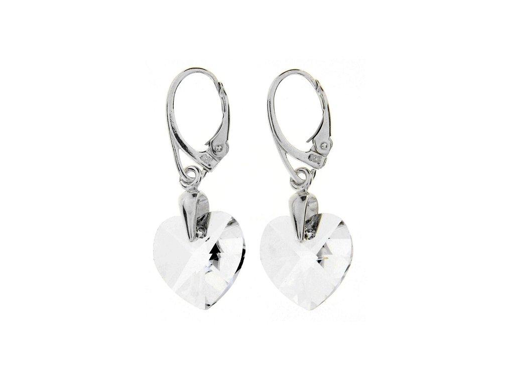 Náušnice srdce Swarovski® Heart biele Crystal 14 mm