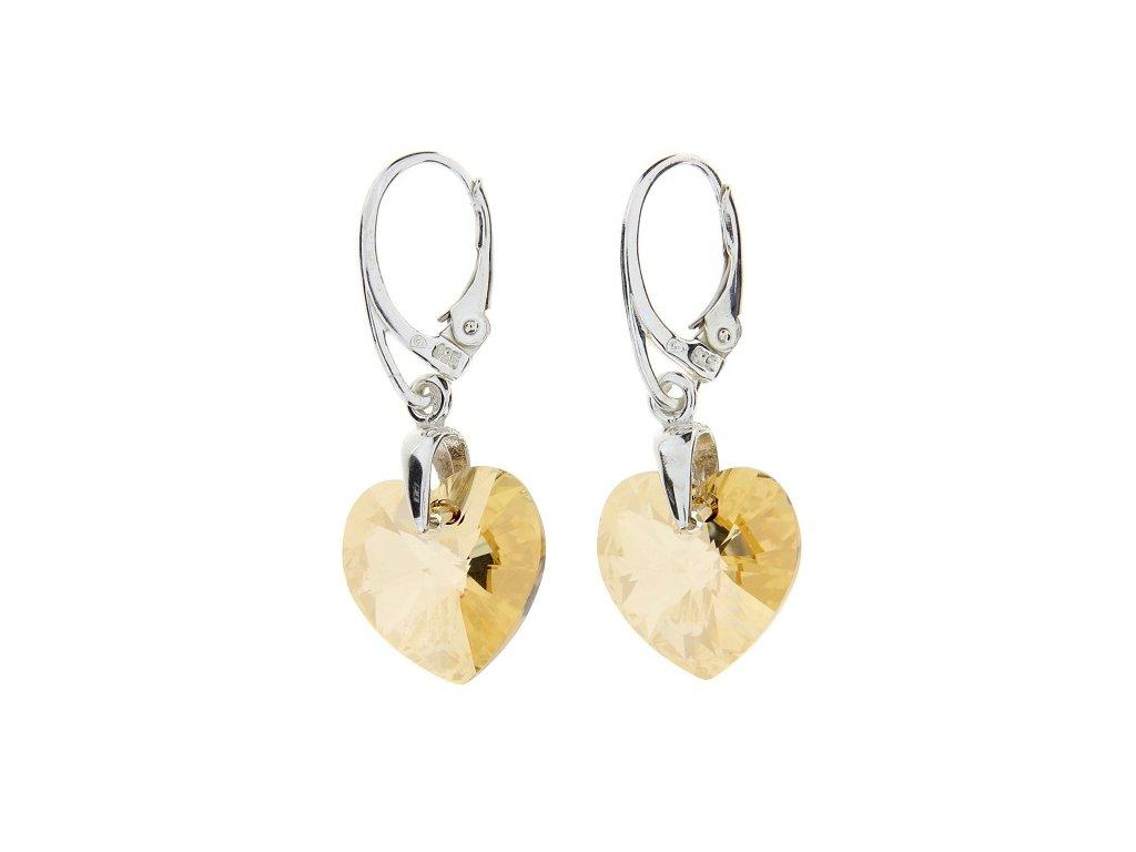Náušnice srdce Swarovski® Heart zlaté Golden Shadow 14 mm