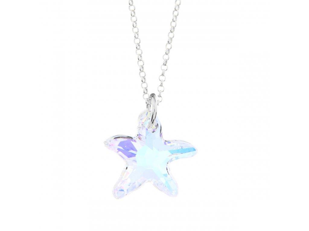 Náhrdelník Swarovski Elements morská hviezda AB 16 mm