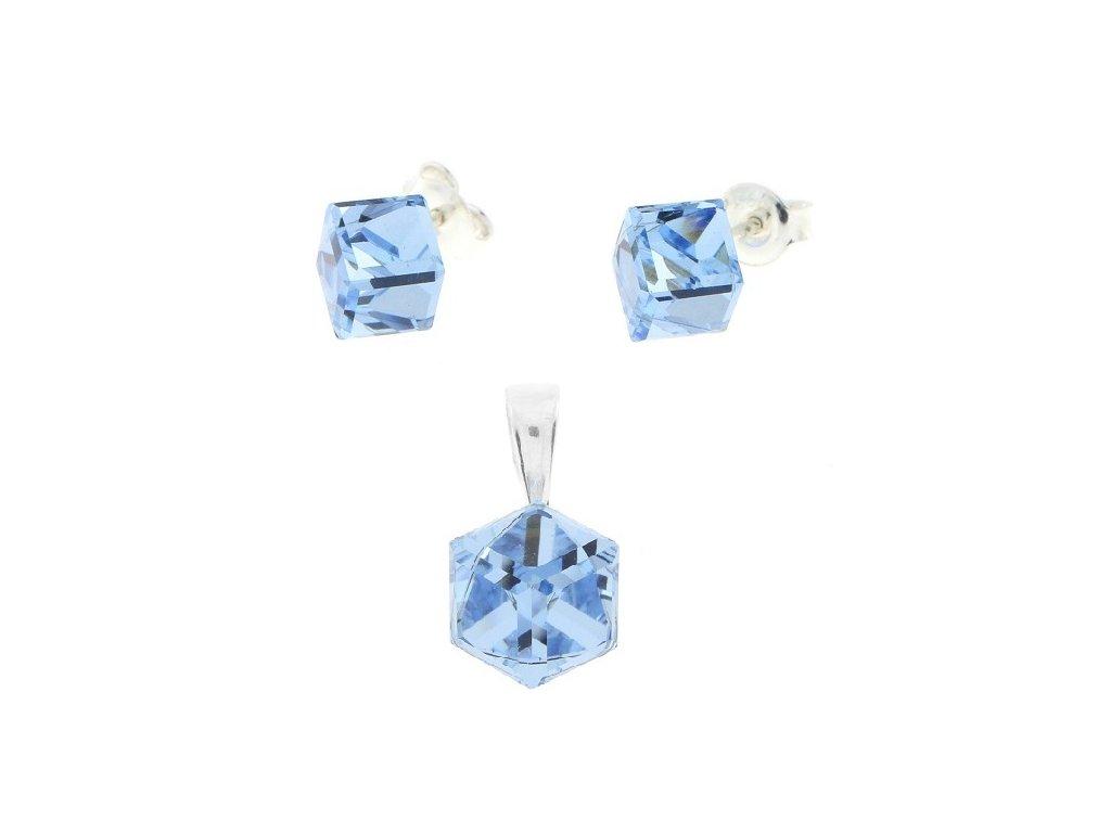 Strieborný set s modrými kockami Swarovski® Aquamarine