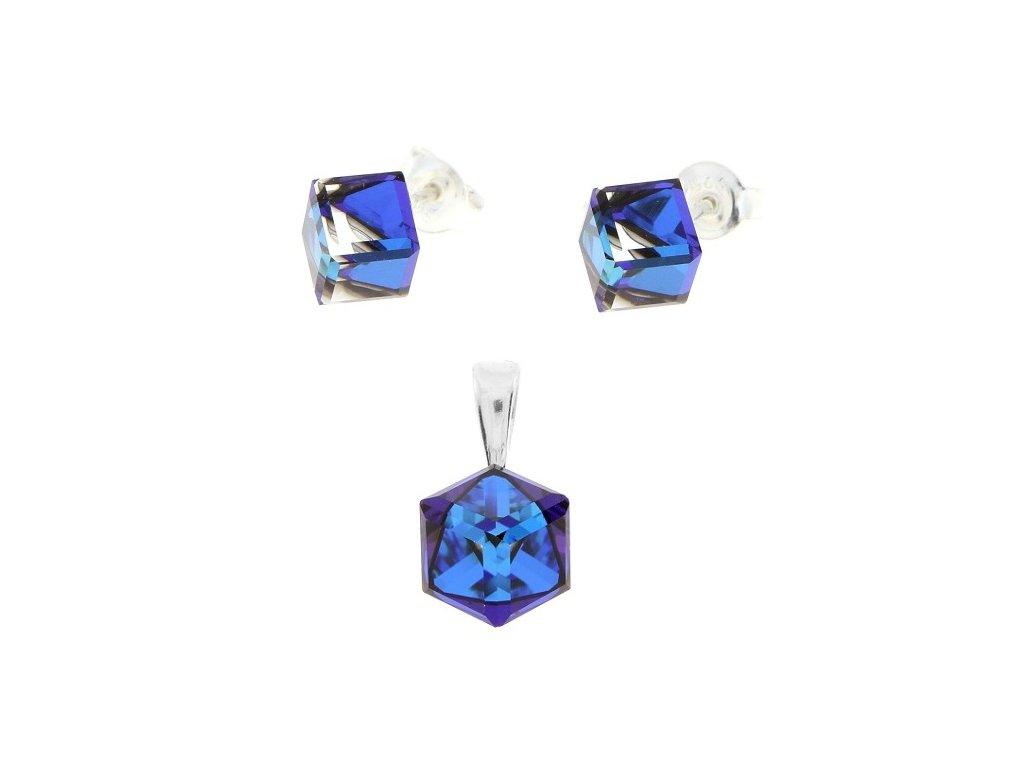 Strieborný set s modrými kockami Swarovski® Bermuda Blue