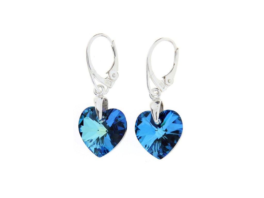Náušnice s kryštálmi Swarovski Heart Bermuda Blue 18 mm