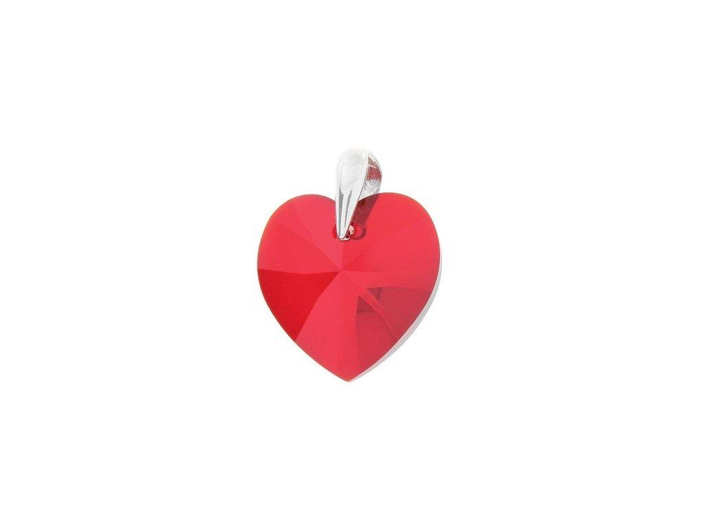 Prívesok červené srdce s kryštálom Swarovski Heart Light Siam 14 mm