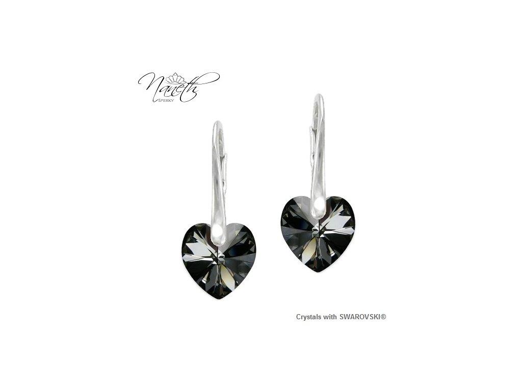 Srdiečkové náušnice Naneth s kryštálmi Swarovski Silver Night 14 mm