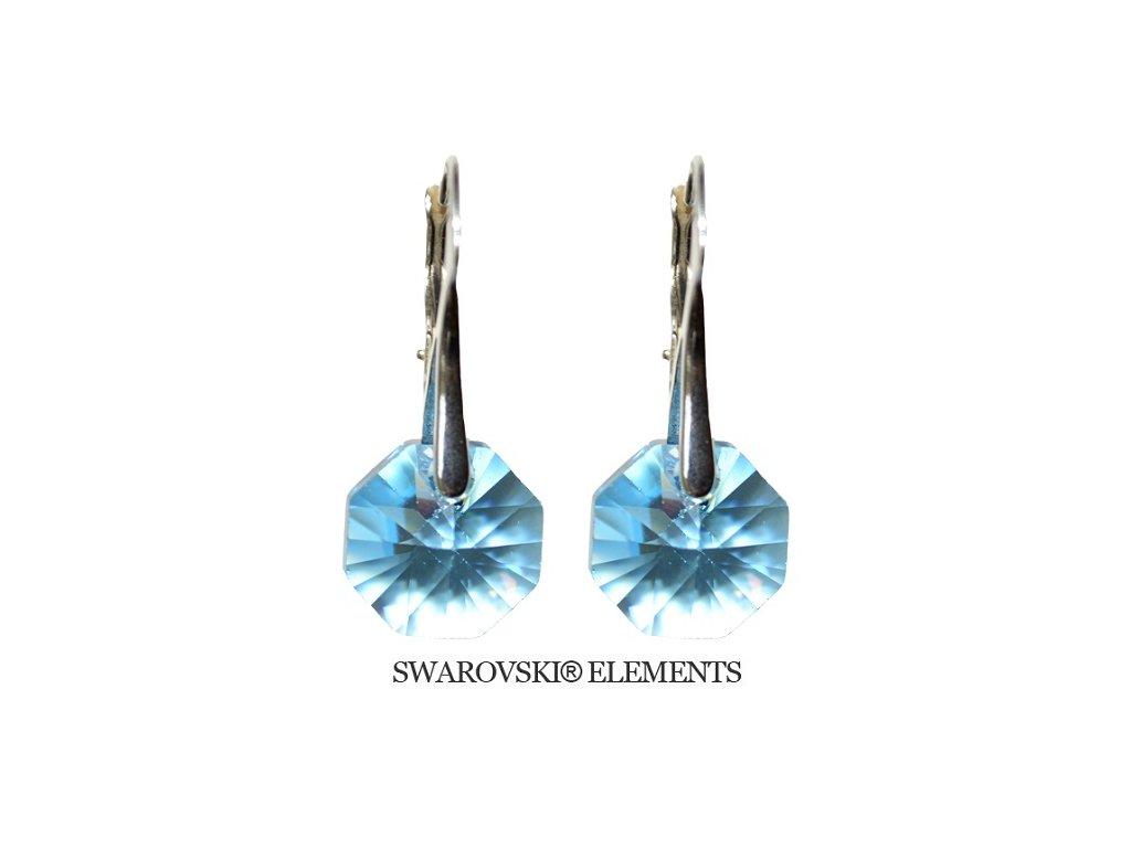 Náušnice Swarovski Elements Octagon Aquamarine