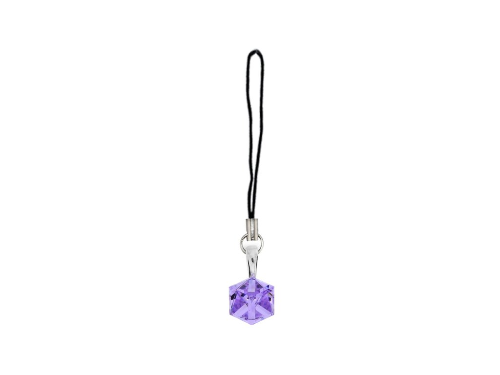 Prívesok na mobil kocka Swarovski® Violet 6 mm