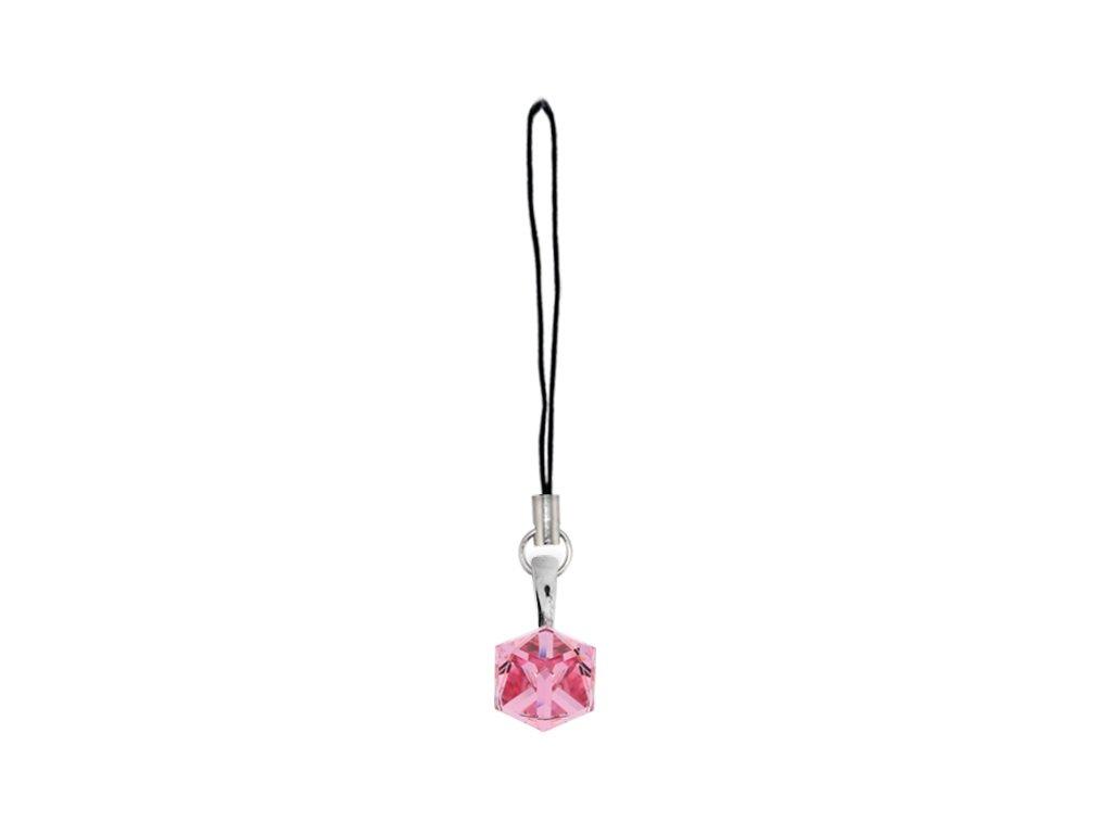 prívesok na mobil swarovski kocka ružová