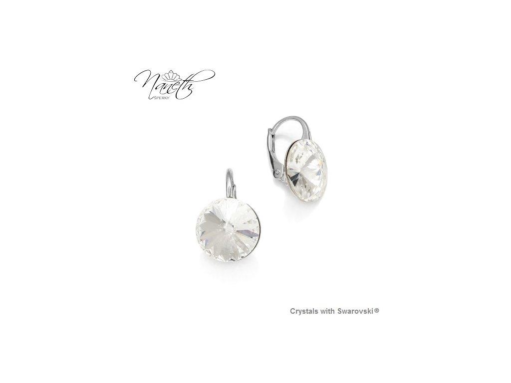 Strieborné náušnice Naneth Rivoli biele s kryštálmi Swarovski Crystal 12 mm