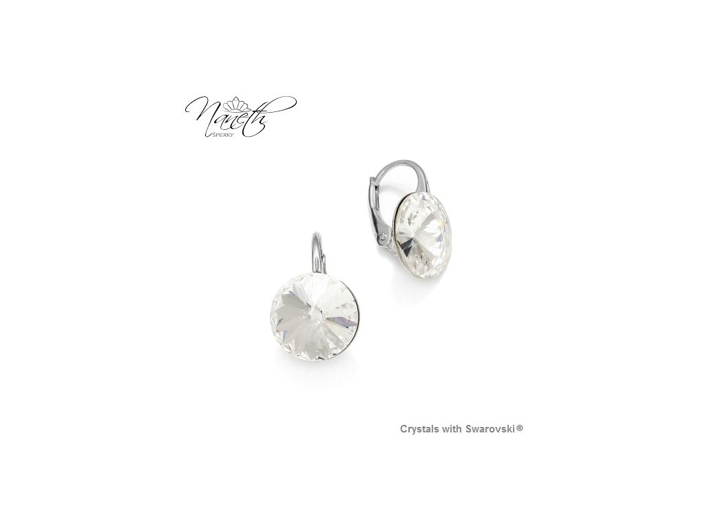 SWAROVSKI-nausnice-strieborne-okruhle-biele-crystal-klapkove