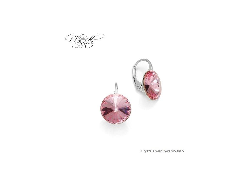 Strieborné náušnice Naneth Rivoli ružové s kryštálmi Swarovski Light Rose 12 mm