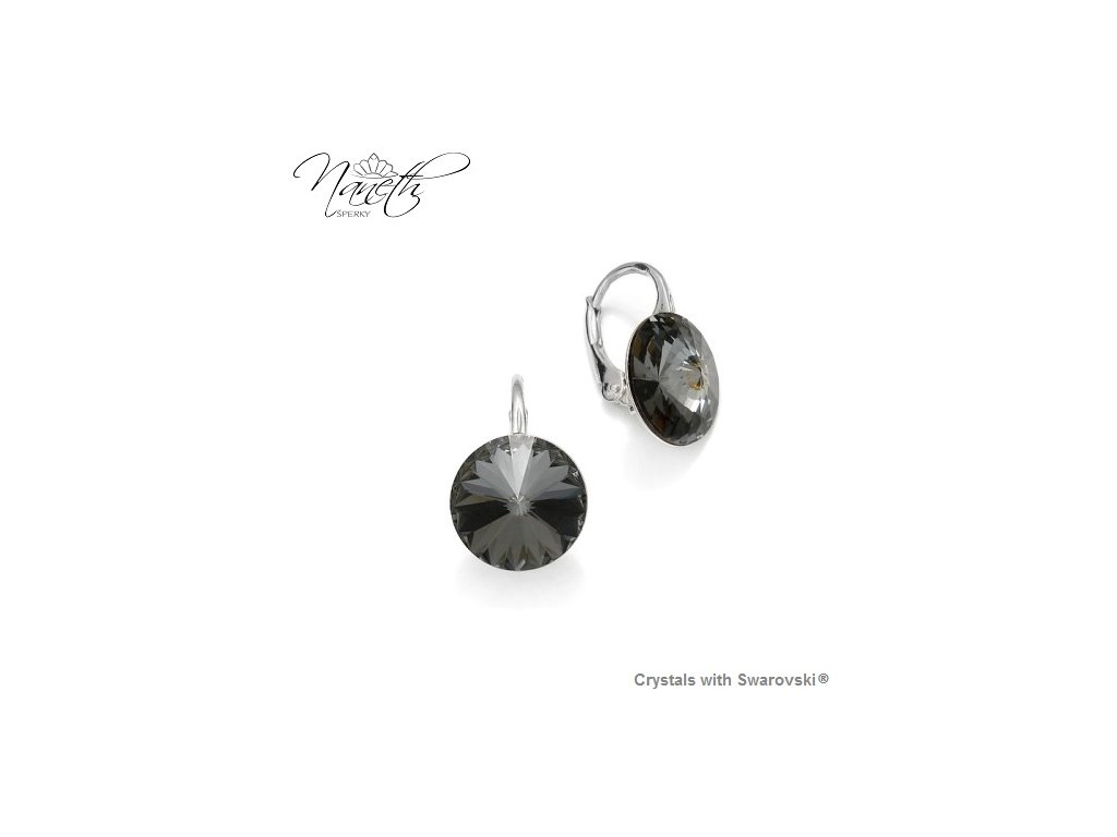 Strieborné náušnice Naneth Rivoli čierne s kryštálmi Swarovski Silver Night 12 mm