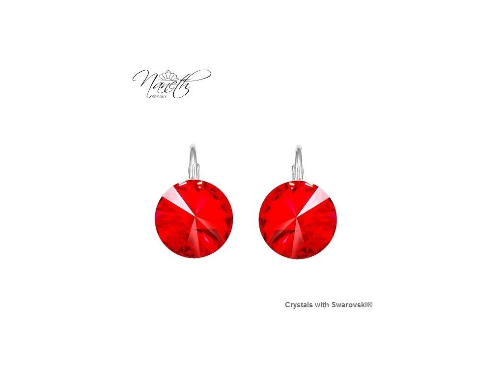 Strieborné náušnice Naneth Rivoli červené s kryštálmi Swarovski Light Siam 12 mm