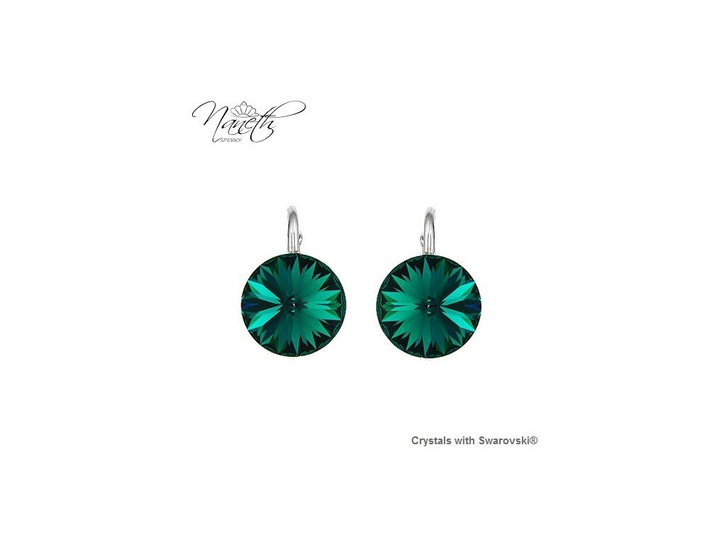 Strieborné náušnice Naneth Rivoli zelené s kryštálmi Swarovski Emerald 12 mm