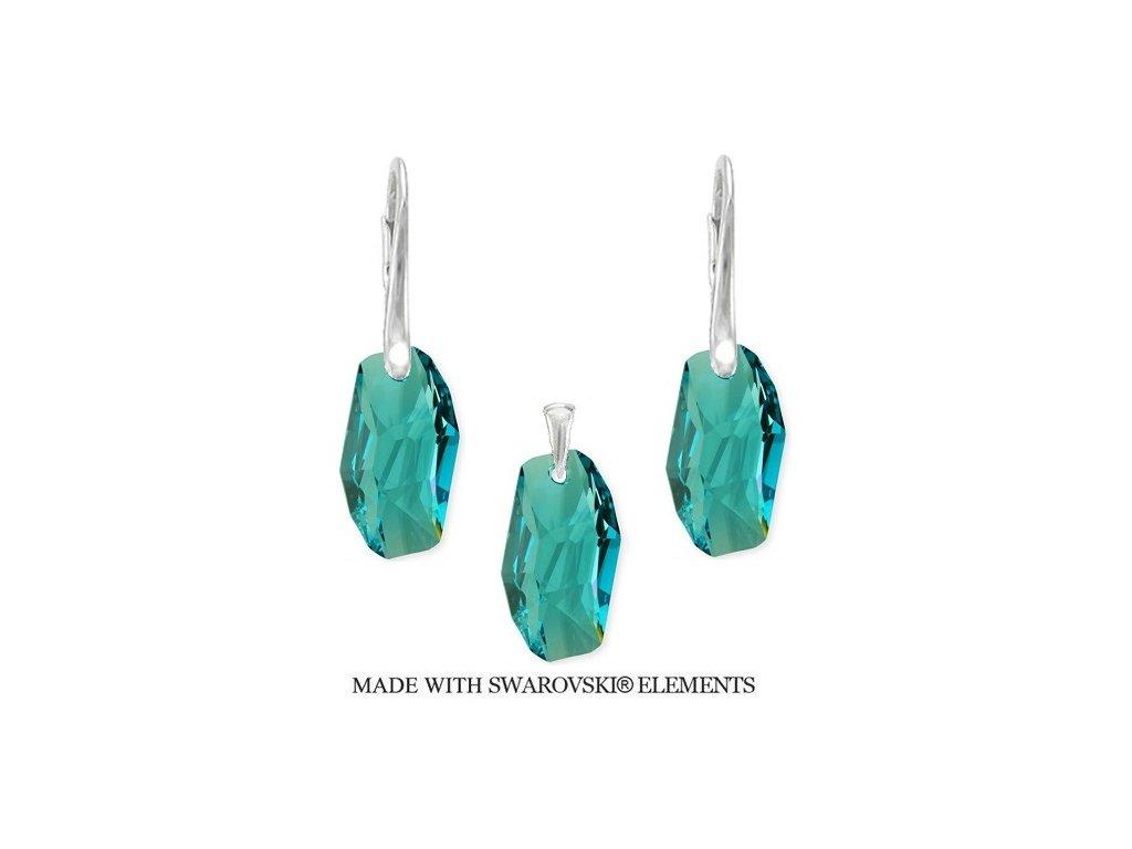Set METEOR Swarovski Elements Light Turquoise