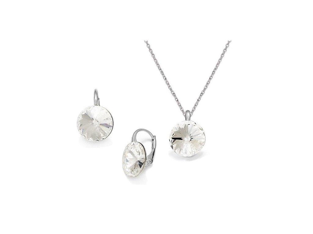 swarovki-set-strieborny-biely-okruhly-crystal
