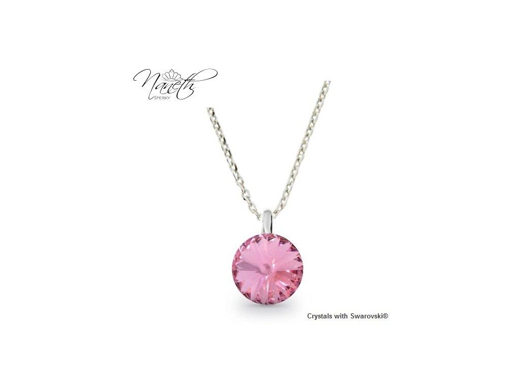 Strieborný náhrdelník Naneth s ružovým kryštálom Swarovski Light Rose 12 mm