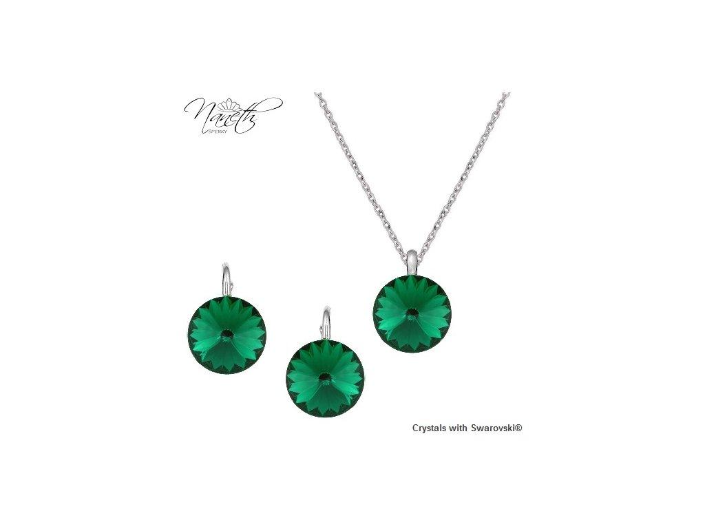 Strieborný set s kryštálmi Swarovski Rivoli Emerald