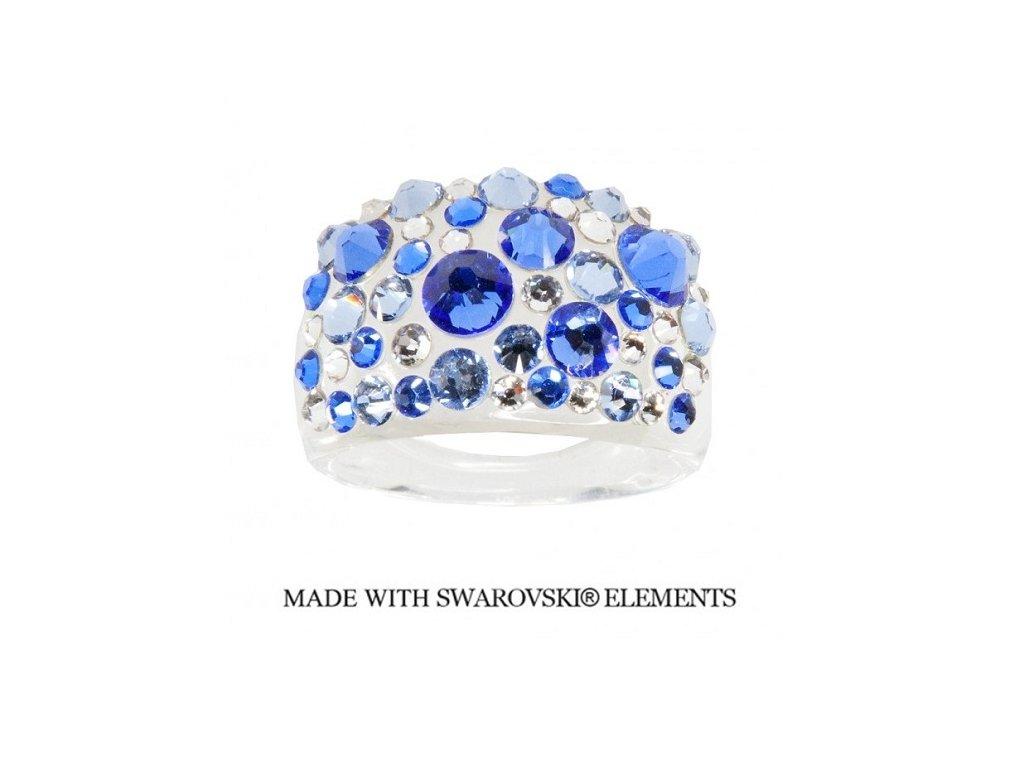 Prsteň Bubble s kryštálmi Swarovski Elements Sapphire