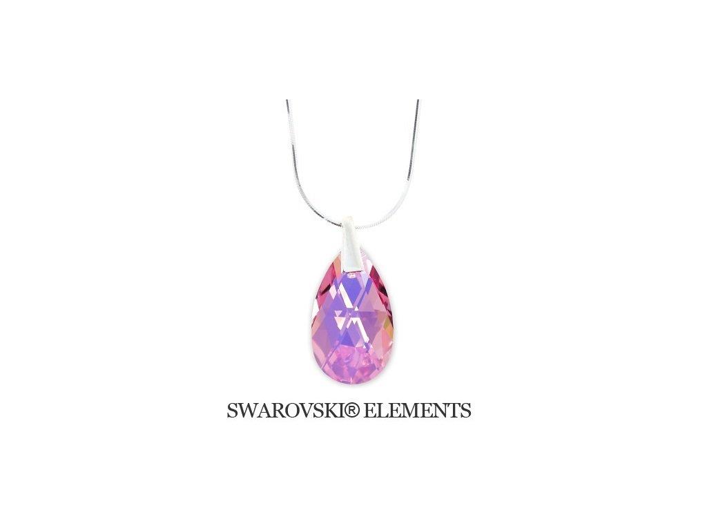 Náhrdelník Swarovski Elements slza Light Rose AB 22 mm
