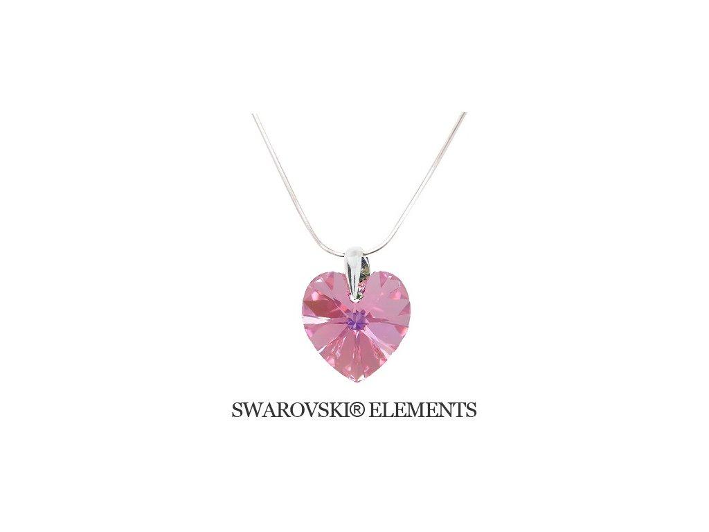 Náhrdelník srdiečko Swarovski Elements 14 mm Light Rose