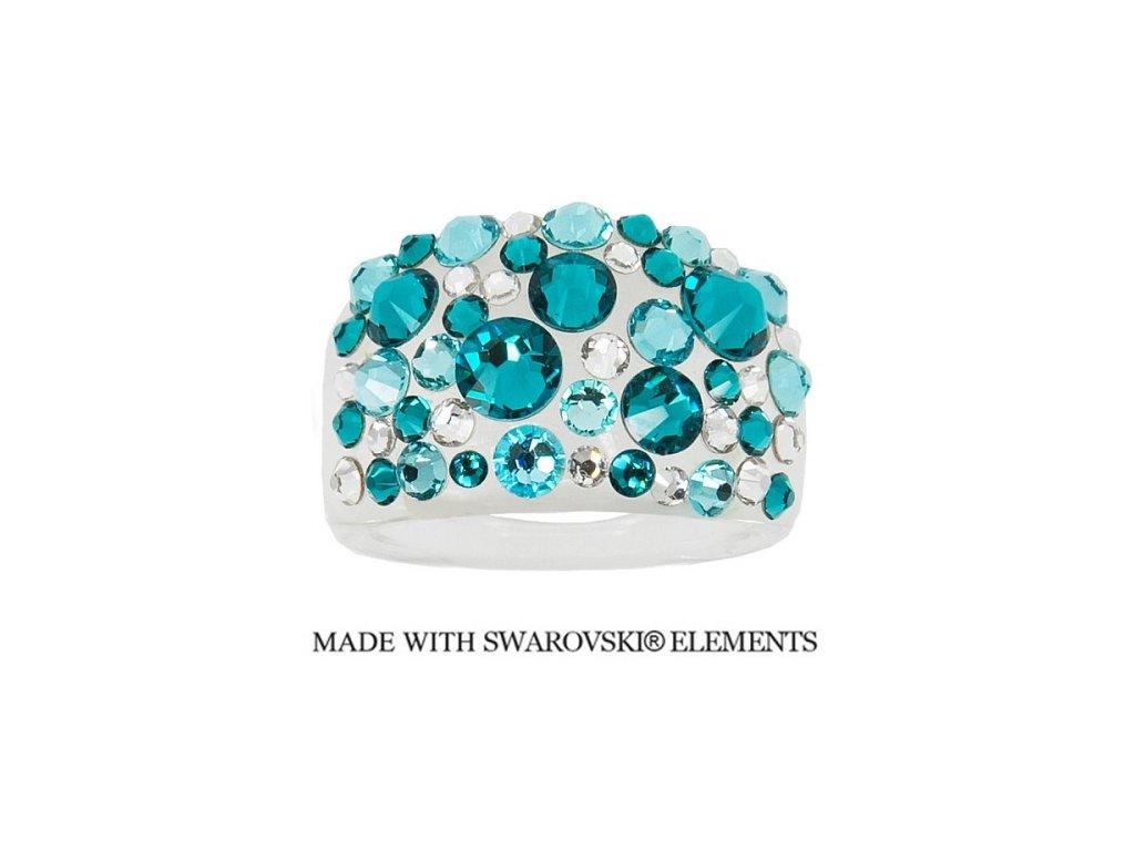 Prsteň Bubble s kryštálmi Swarovski Elements Blue Zircon