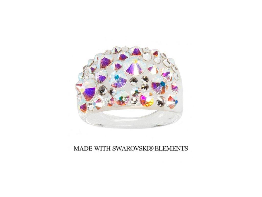 Prsteň Bubble s kryštálmi Swarovski Elements Crystal AB