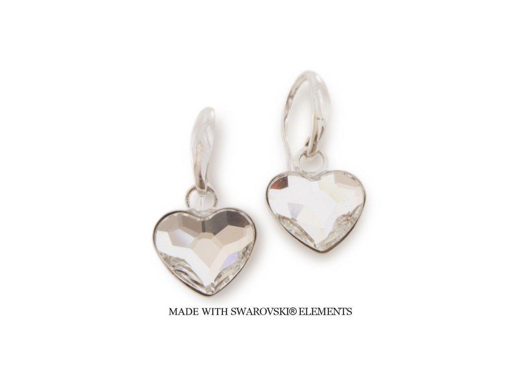 Náušnice s kryštálmi Swarovski Elements Heart KW2808C
