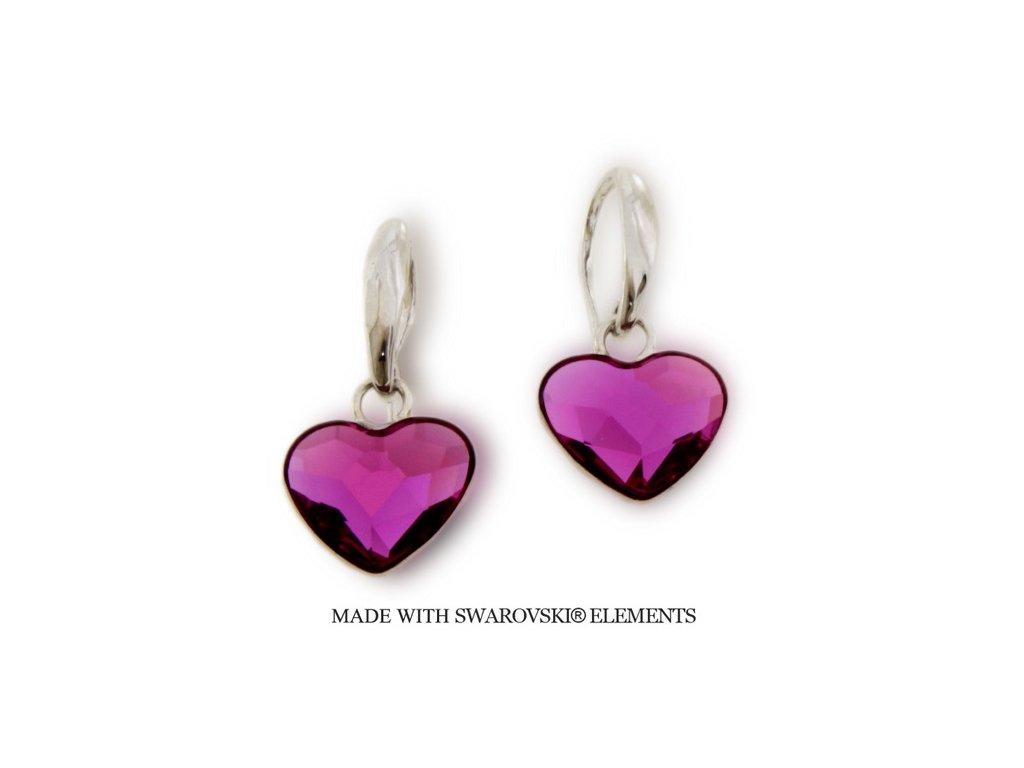 Náušnice s kryštálmi Swarovski Elements Heart KW2808F