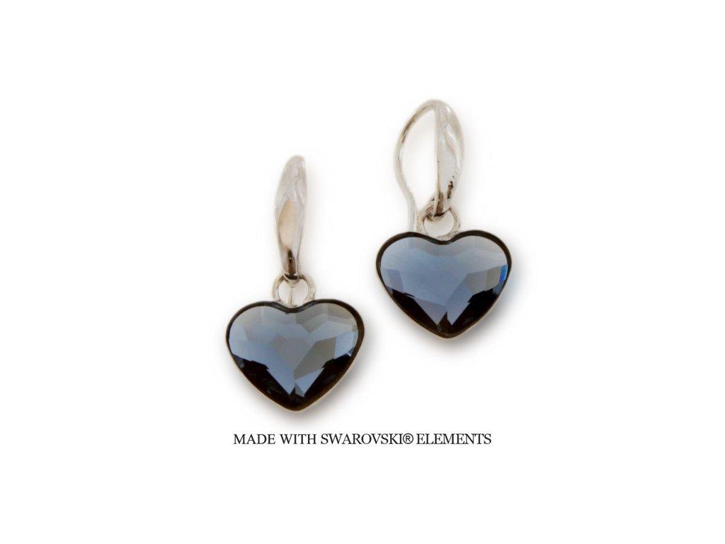 Náušnice s kryštálmi Swarovski Elements Heart KW2808DB
