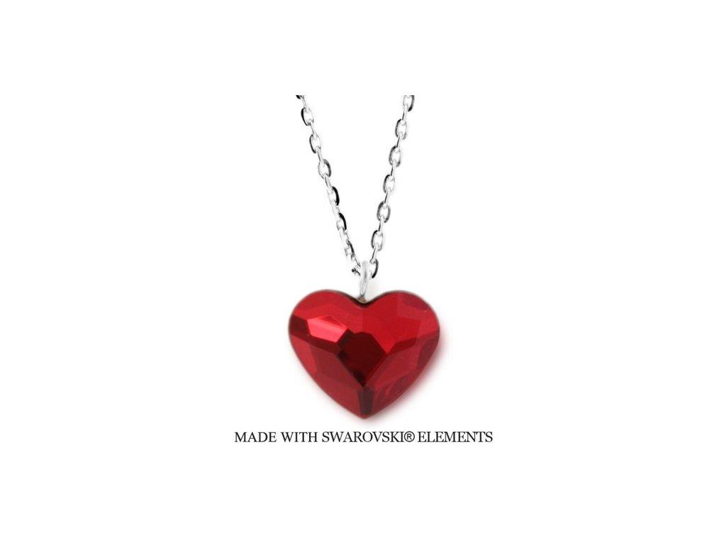 Náhrdelník s kryštálom Swarovski Elements Heart Siam N2808SI