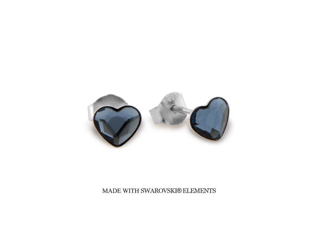 Náušnice s kryštálmi Swarovski Elements Heart Romance Denim Blue