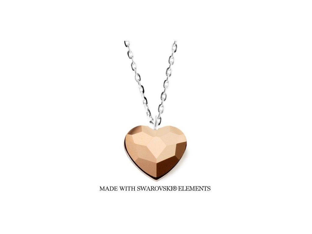Náhrdelník s kryštálom Swarovski Elements Heart Rose Gold N2808RG