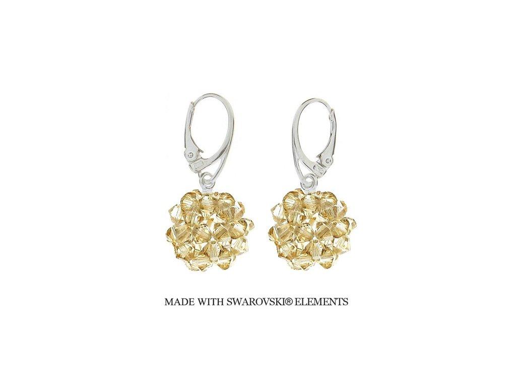 Náušnice z korálkových zlatých guličiek Swarovski® Golden Shadow HandMade
