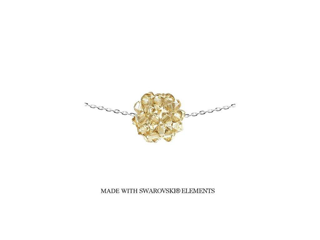 Náhrdelník so zlatou guličkou Swarovski Elements