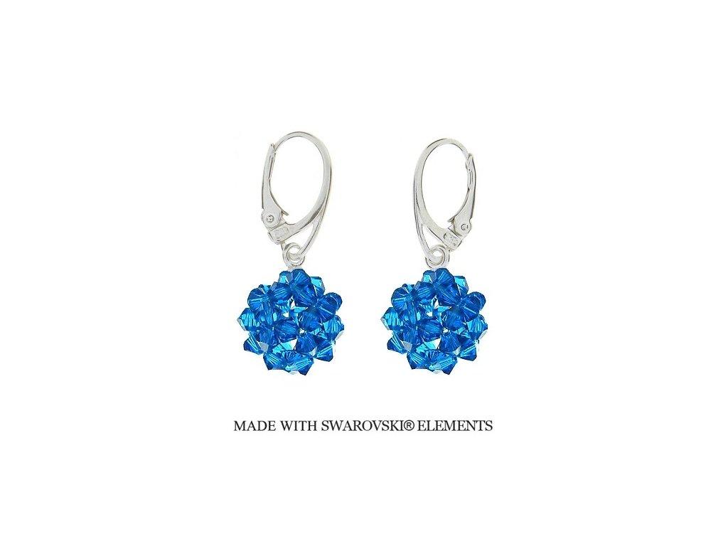 Náušnice z korálkových modrých guličiek Swarovski® Capri Blue HandMade