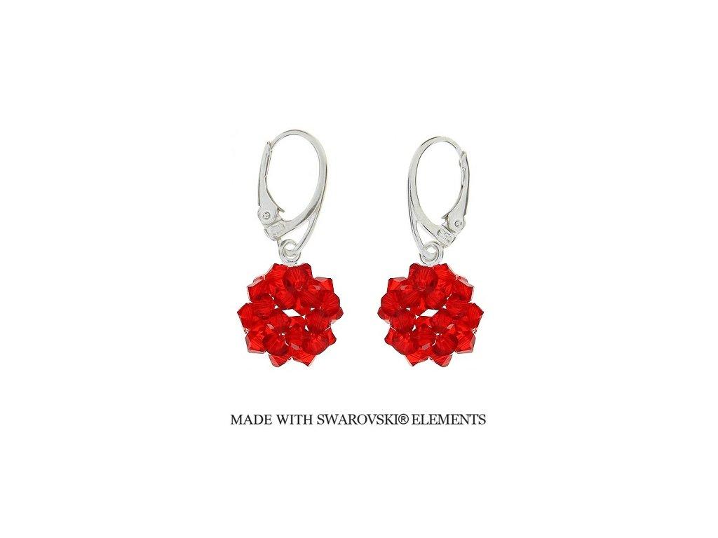 Náušnice z korálkových červených guličiek Swarovski® Light Siam HandMade