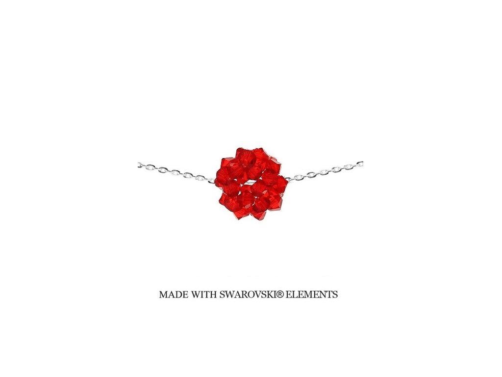 Náhrdelník s červenou guličkou Swarovski Elements