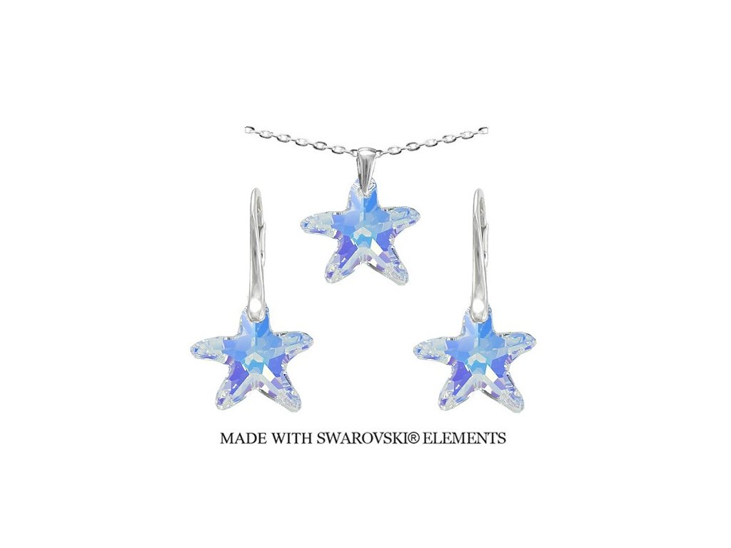 Set morské hviezdy s kryštálmi Swarovski AB 16 mm s retiazkou
