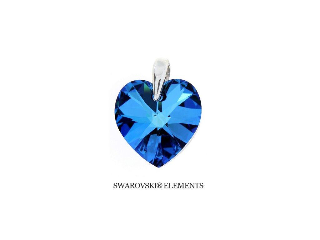 Prívesok srdce Naneth s modrým kryštálom Swarovski Heart Bermuda Blue 28 mm