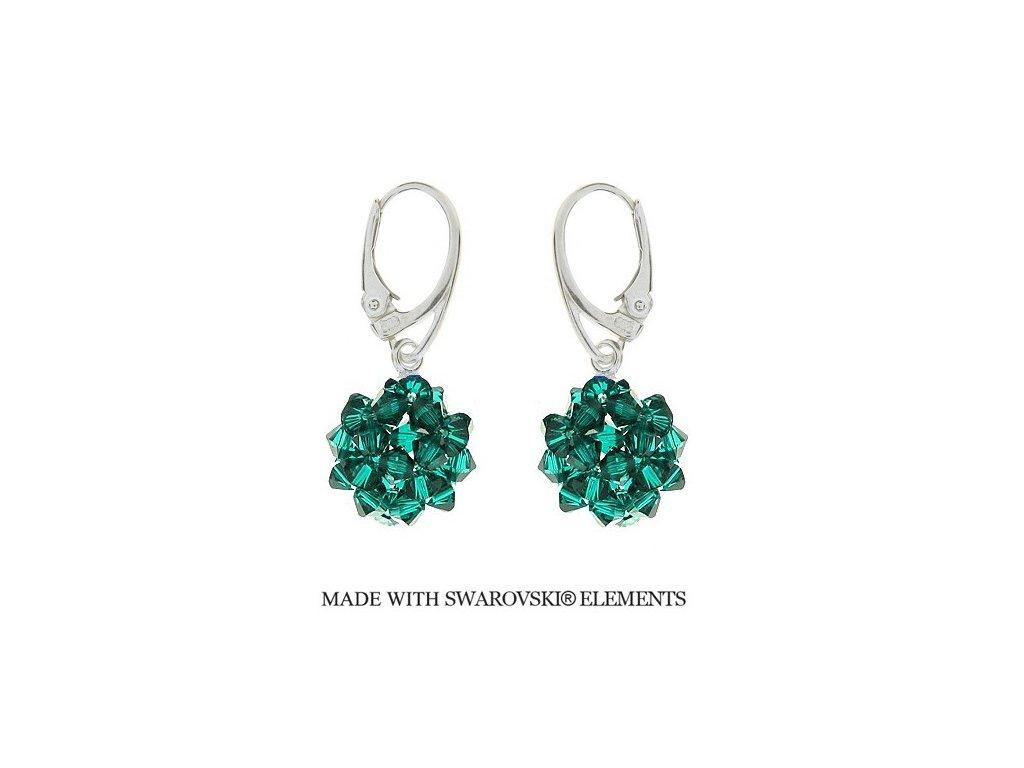 Náušnice z korálkových zelených guličiek Swarovski® Blue Zircon HandMade