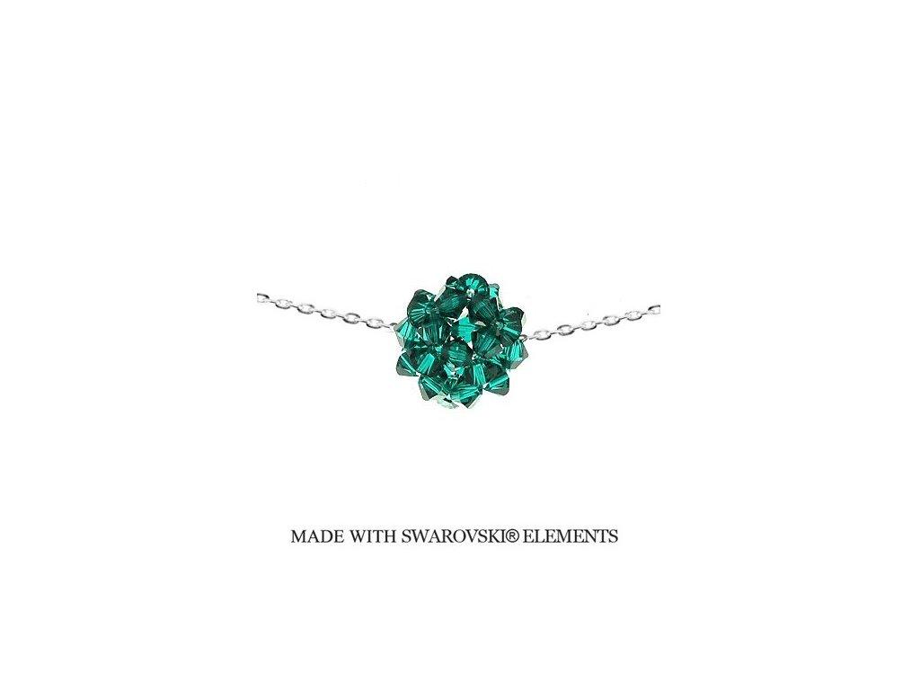 Náhrdelník so zelenou guličkou Swarovski Elements