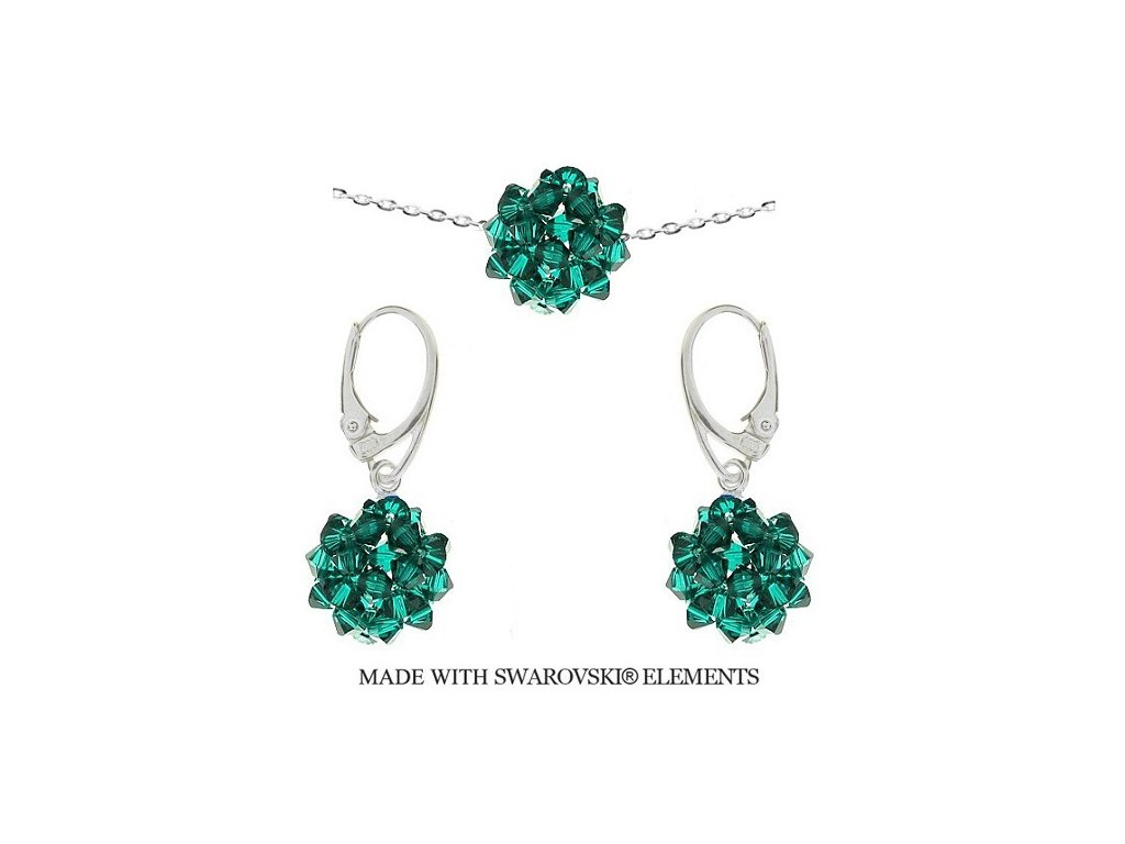 Set Naneth z korálkových Swarovski® zelených guličiek HandMade