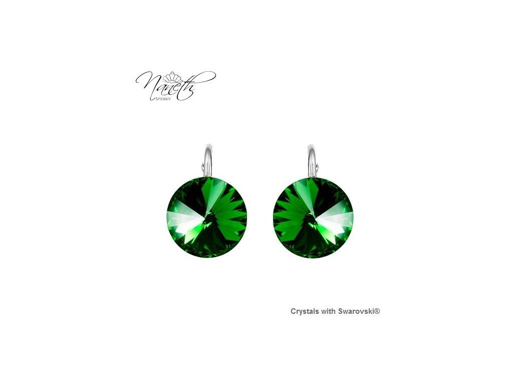 Strieborné náušnice Naneth Rivoli zelené s kryštálmi Swarovski Dark Moss Green 12 mm